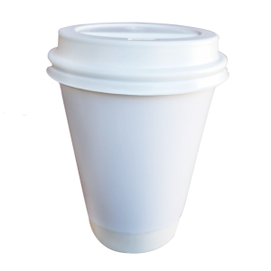 Vaso café doble pared blanco liso 12 oz
